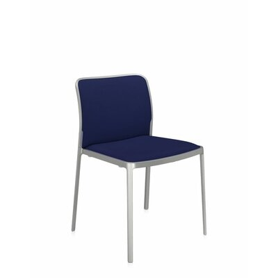 Audrey Soft Side Chair (Set of 2) Color: Painted Aluminum, Color: Blue Lycra