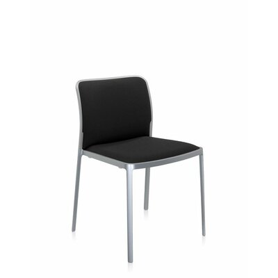 Audrey Soft Side Chair (Set of 2) Color: Painted Aluminum, Color: Black Trevira