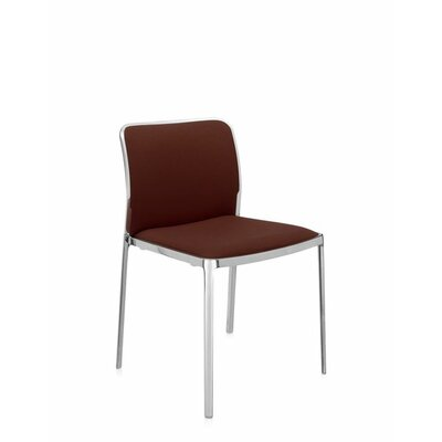 Audrey Soft Side Chair (Set of 2) Color: Polished Aluminum, Color: Brown Trevira