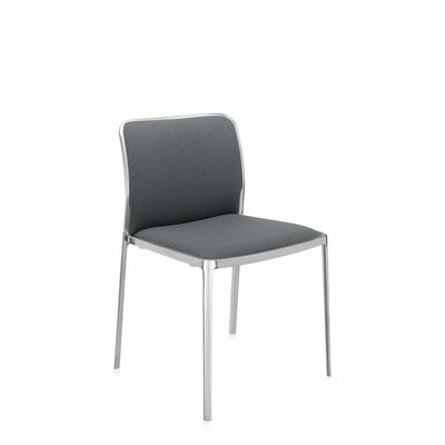 Audrey Soft Side Chair (Set of 2) Color: Polished Aluminum, Color: Gray Trevira