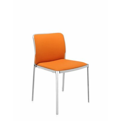 Audrey Soft Side Chair (Set of 2) Color: Polished Aluminum, Seat Color: Orange Trevira