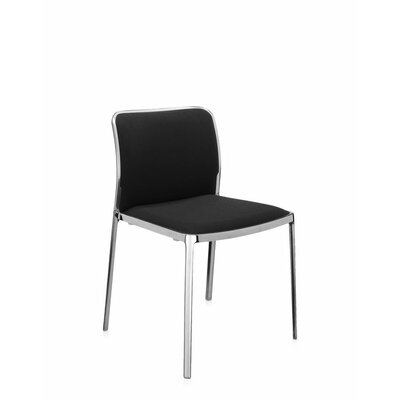 Audrey Soft Side Chair (Set of 2) Color: Polished Aluminum, Color: Black Trevira