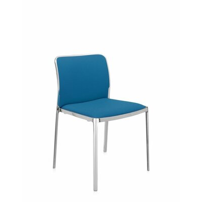Audrey Soft Side Chair (Set of 2) Color: Polished Aluminum, Color: Ultramarine Green Trevira