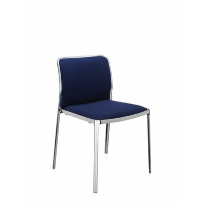 Audrey Soft Side Chair (Set of 2) Color: Polished Aluminum, Color: Blue Lycra
