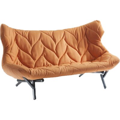 Foliage Loveseat Leg Color: Red, Upholstery: Orange Cloth