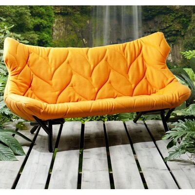 Foliage Loveseat Leg Color: Red, Upholstery: Trivera Orange
