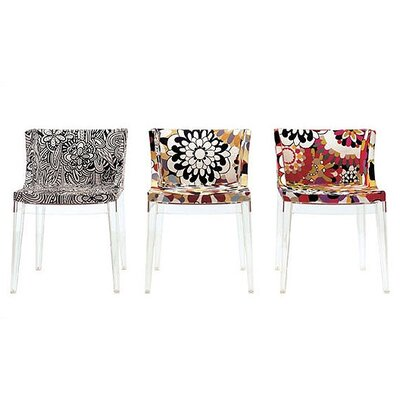 Mademoiselle Side Chair Frame Finish: Transparent, Upholstery: Cartagena in Black & White