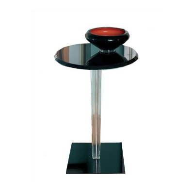 Top Top End Table Leg Style: Square Pleated, Top: Round, Finish: Glossy White