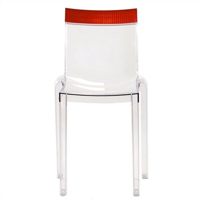 Low Price Kartell Hi-Cut Chair (Set of 2) Finish: Transparent Crystal, Accent Finish: Red