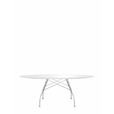 Glossy Oval Table Color: White, Size: 28 H x 76 W x 46 D