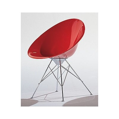 Eros Papasan Chair Finish: Opaque Kartell Red, Base: Casters