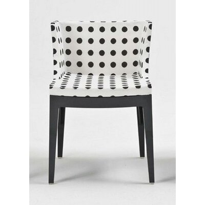 Mademoiselle Padded Armchair Finish: Black, Upholstery: White Pattern