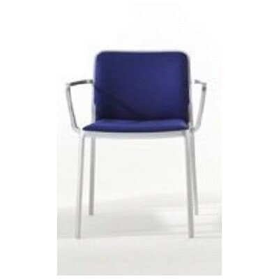 Audrey Soft Armchair (Set of 2) Color: Painted White, Color: Blue Trevira
