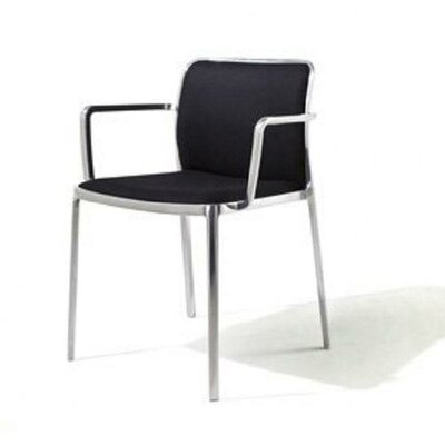 Audrey Soft Armchair (Set of 2) Color: Polished Aluminum, Color: Blue Trevira