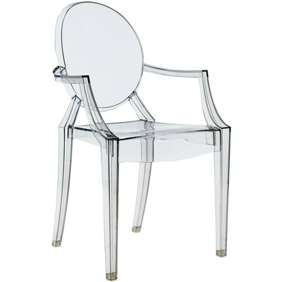 Louis Ghost Arm Chair (Set of 2) Upholstery: Transparent Smoke Grey