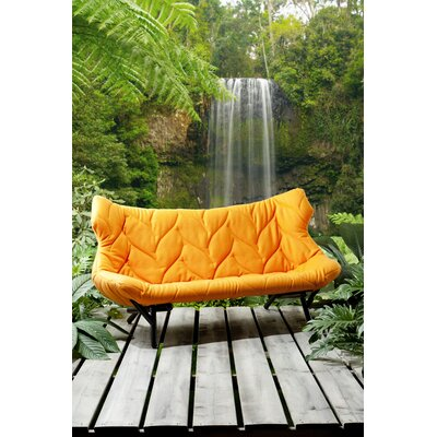 Foliage Loveseat Upholstery: Trivera Orange, Leg Color: White