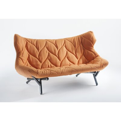 Foliage Loveseat Leg Color: Black, Upholstery: Orange Cloth
