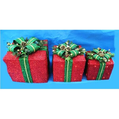 3 Piece Prelit Tinsel Fabric Gift Box Set Christmas Decoration