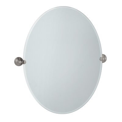 Charlotte Oval Wall Mirror Size: Large, Finish: Satin Nickel