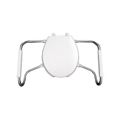 Medic Aid Safety Side Arm Commercial Open Front Solid Plastic Round Toilet Seat