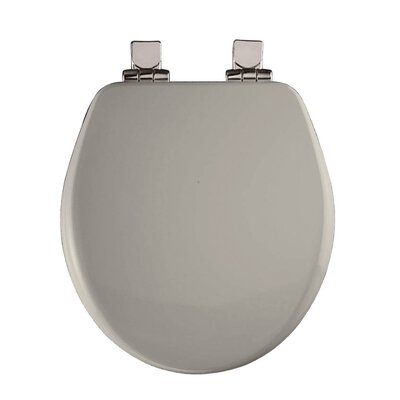 Wood Round Slow-Close Toilet Seat Finish: Biscuit, Hinge Type: Brushed-Nickel Hinge