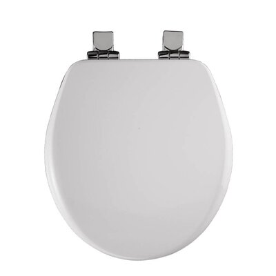 Wood Round Slow-Close Toilet Seat Finish: White, Hinge Type: Chrome Hinge