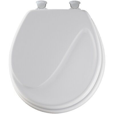 Molded Wood Wave Design Round Toilet Seat Finish: White