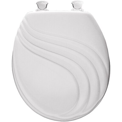 Molded Wood Swirl Design Round Toilet Seat Finish: White