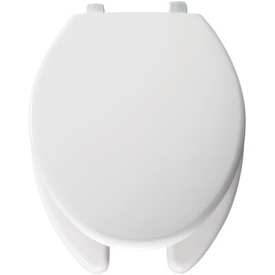 Open Front Solid Plastic Elongated Toilet Seat Hinge Type: Check Hinge