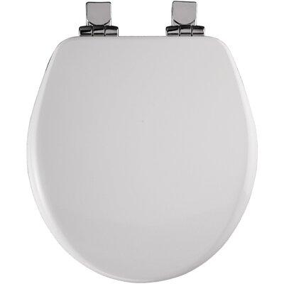 High Density Molded Wood Round Toilet Seat Finish: White, Hinge Finish: Chrome
