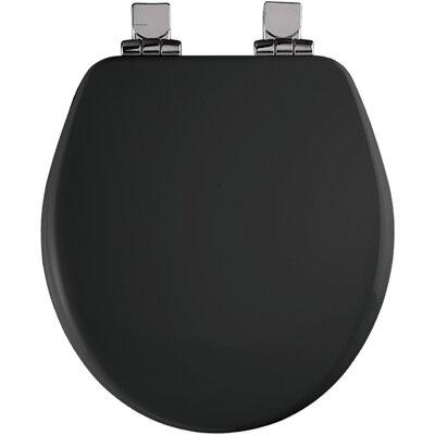 High Density Molded Wood Round Toilet Seat Finish: Black, Hinge Finish: Chrome