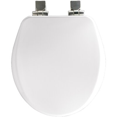 High Density Molded Wood Round Toilet Seat Finish: Black, Hinge Finish: Brushed-Nickel