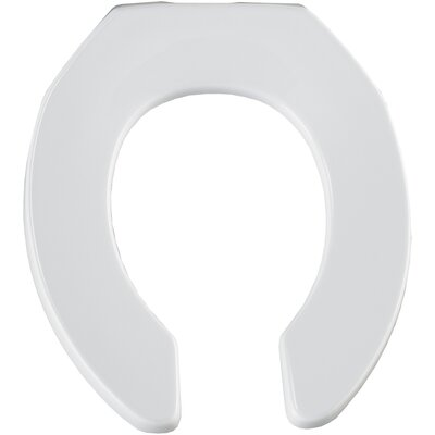 Commercial Open Front Solid Plastic Round Toilet Seat Finish: White