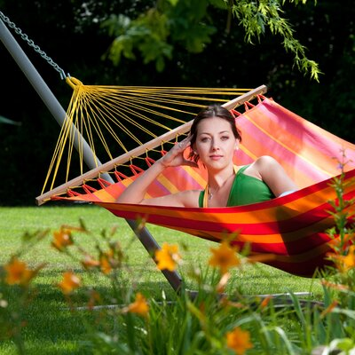 Chillax Olefin Hammock with Stand Color: Manderine, Size: Single