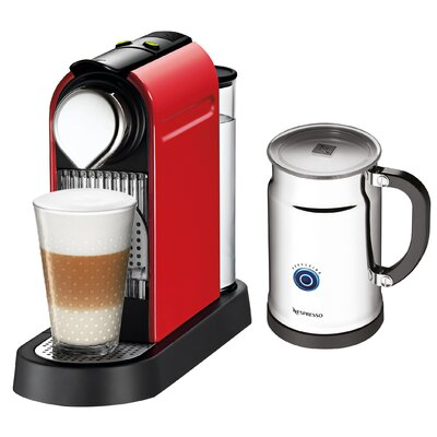 CitiZ Espresso Maker with Aeroccino Milk Frother Color: Fire Engine Red A+C111-US-RE-NE1