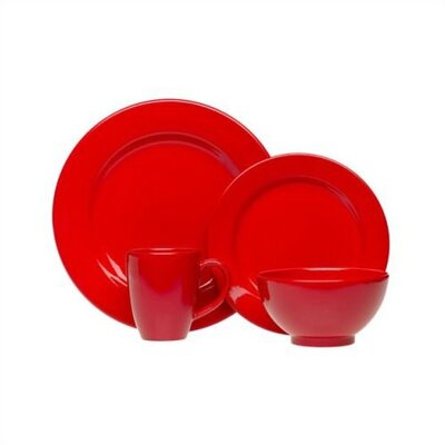 4 Piece Place Setting In Cherry Red
