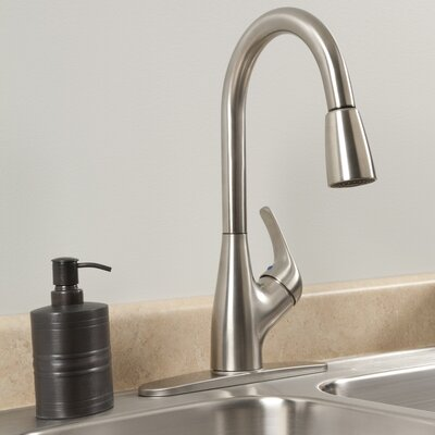 AquaLife Single Handle Pull-Down Kitchen Faucet with 2 Spray Settings Finish: Brushed Nickel