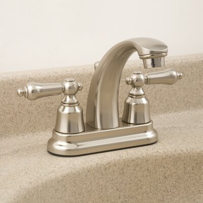 AquaLife Standard Double Handle Centerset Bathroom Faucet with Drain Assembly Finish: Brushed Nickel