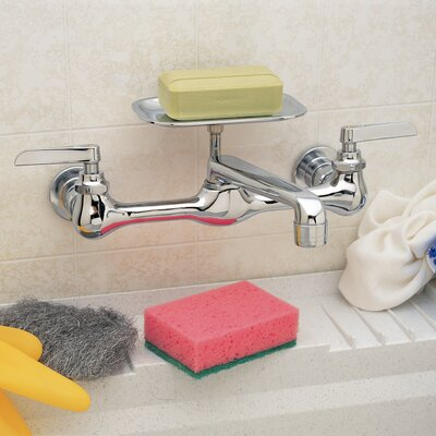PlumbCraft Wall Mounted Bathroom Faucet Double Handle 0413900LF