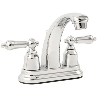 AquaLife Standard Double Handle Centerset Bathroom Faucet with Drain Assembly Finish: Chrome
