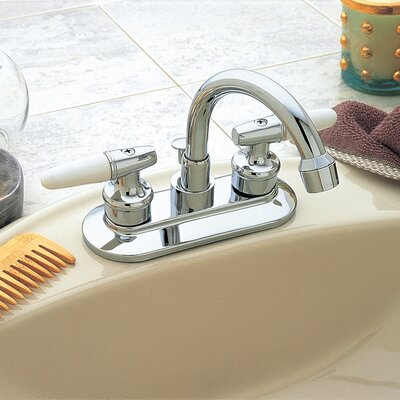 AquaLife High Arc Centerset Bathroom Faucet Double Handle with Drain Assembly