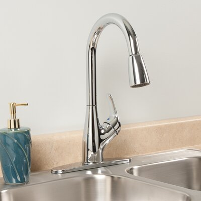 AquaLife Single Handle Pull-Down Kitchen Faucet with 2 Spray Settings Finish: Chrome
