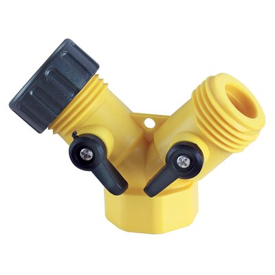 0.75 Y Hose Connector with Shutoff Lever