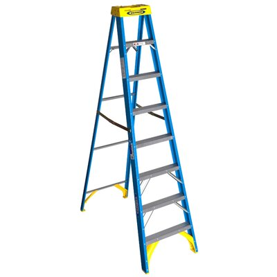 8 ft Fiberglass Step Ladder with 250 lb. Load Capacity
