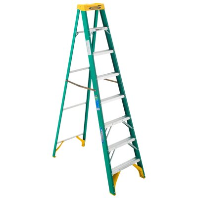 Werner 8 ft Fiberglass Step Ladder with 225 lb. Load Capacity - Finish: Green