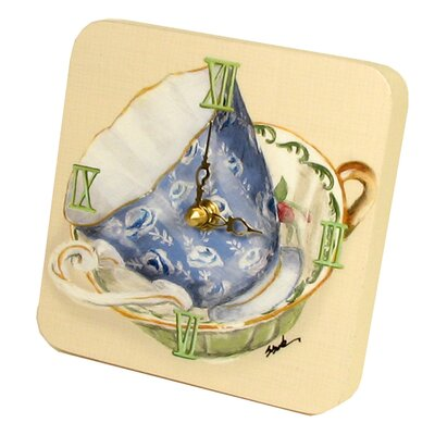 Home and Garden Tea Cups Tiny Times Clock 23068TT-Blue