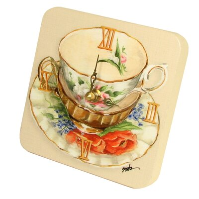 Home and Garden Tea Cups Tiny Times Clock 23068TT-Orange