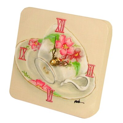 Home and Garden Tea Cups Tiny Times Clock 23068TT-pink