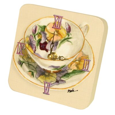 Home and Garden Tea Cups Tiny Times Clock 23068TT-Purple