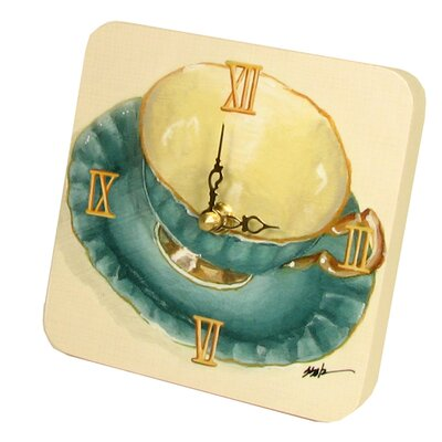Home and Garden Tea Cups Tiny Times Clock 23068TT-Teal